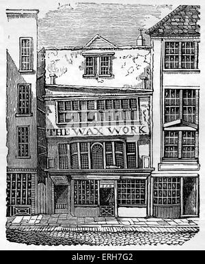 Front exterior of Mrs Salmon's Waxwork Exhibition, Fleet Street, London, 1795-1816. Contained 140 life-size figures - Stock Photo