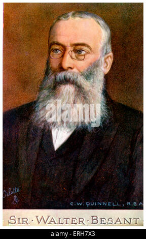 Sir Walter Besant, illustration by C W Quinnell (1868–1932). English novelist and historian: 14 August 1836 - 9 - Stock Photo