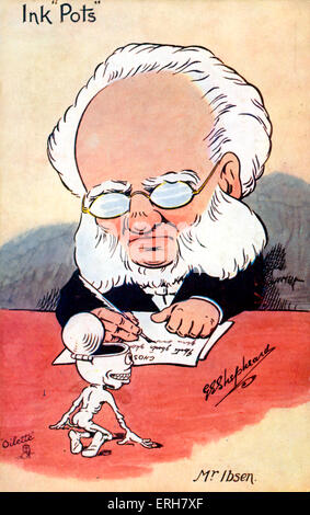 Henrik Ibsen writing. Caricature. Norwegian playwright 20 March 1828 – 23 May 1906.  (Ink Pots series/ Raphael Tuck) - Stock Photo