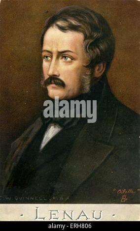 Nikolaus Lenau - portrait by C. W. Quinnell. Lenau: Nikolaus Franz Niembsch Edler von Strehlenau; Austrian poet, - Stock Photo