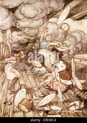 Alice 's Adventures in Wonderland by Lewis Carroll (Charles Lutwidge Dodgson). Caption reads:'The Duchess's Kitchen' - Stock Photo