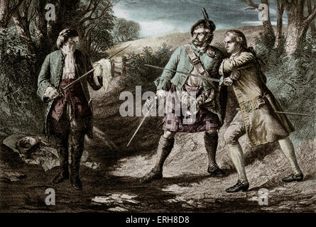 Rob Roy  by Sir Walter Scott. Rob Roy  parts a duel between Rashleigh and Frank Osbaldistone.  From the 1817 novel. - Stock Photo