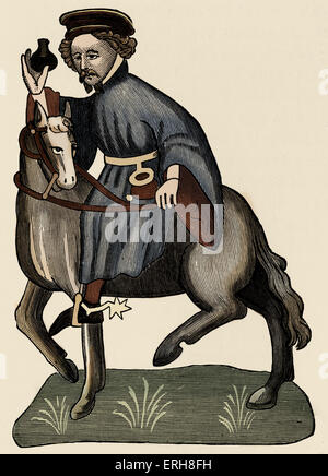 Geoffrey Chaucer ' s Canterbury Tales - The Manciple on horseback.  English poet, c. 1343-1400. Ellesemere manuscript - Stock Photo