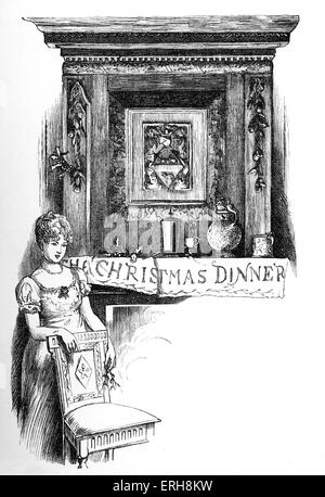 Old Christmas by Washington Irving: Christmas Dinner. Illustrations designed by Randolph Caldecott and engraved - Stock Photo