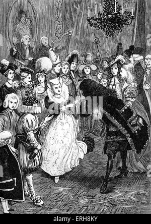 Old Christmas by Washington Irving:   Christmas Day Dance - fancy dress. Caption: 'The rest of the train had been - Stock Photo