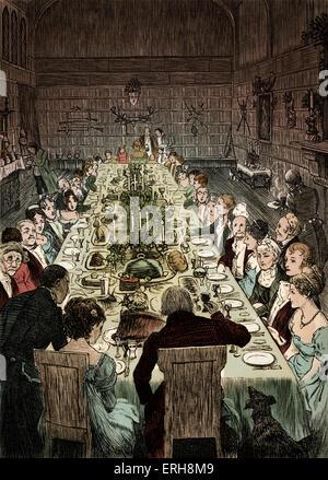 Old Christmas by Washington Irving:   Christmas Dinner. Caption: 'Never did Christmas board display a more goodly - Stock Photo