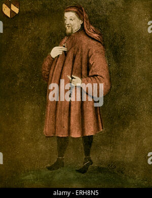 Geoffrey Chaucer - portrait. .   English author, poet and philosopher: c 1343 – October 25, 1400 - Stock Photo