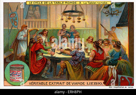 Knights of the Round Table.  (Liebig Collectible Cards. Series: 'Le Cycle de la table ronde/ The Round Table Cycle'). - Stock Photo
