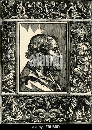 Ludovico Ariosto - from engravin, 1535. Italian poet. 8 September 1474 – 6 July 1533. - Stock Photo