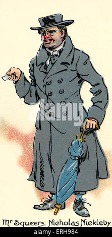 Nicholas Nickleby - novel by Charles Dickens. Illustration of character Mr Squeers, Yorkshire school master. Illustration - Stock Photo