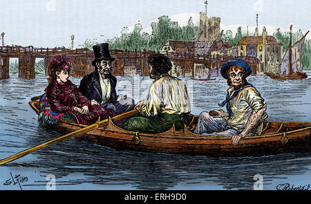 'The Mystery of Edwin Drood' by Charles Dickens. Caption reads: Up the River (Ch XXII) -Illustration drawn by Luke - Stock Photo