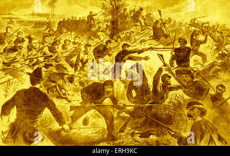 Bayonet fighting during an American Civil War battle. Illustration by Winslow Homer (1836 - 1910), 1860s. - Stock Photo