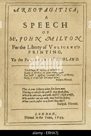 Title page: Areopagitica, a prose pamphlet by poet and parliamentarian John Milton (1608-1674), printed in London, - Stock Photo