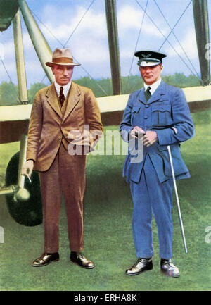 John Alcock (1892-1919) with Arthur Whitten Brown (1886-1948). Alcock and Brown piloted the first non-stop transatlantic - Stock Photo