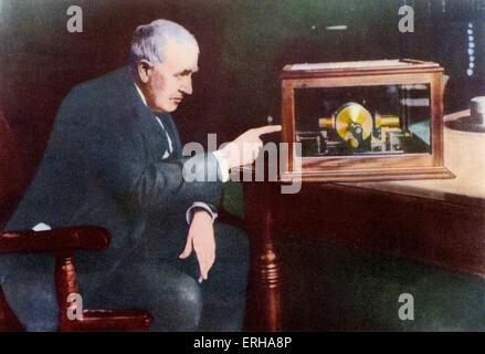 Thomas Edison (1847-1931). Thomas Alva Edison was an American Inventor. Caption reads: 'Thomas Alva Edison'. After - Stock Photo
