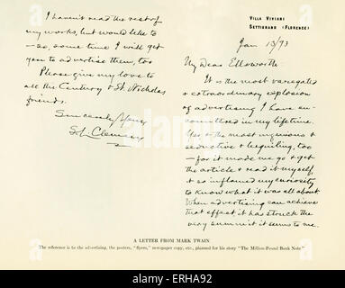 A letter sent from Mark Twain (1835-1910)  to the publisher William Ellsworth (1791-1868). Letter reads: 'My Dear - Stock Photo