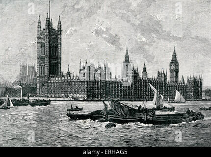 Houses of Parliament / Palace of Westminster, London. Designed by Charles Barry (23 May 1795 – 12 May 1860). After - Stock Photo