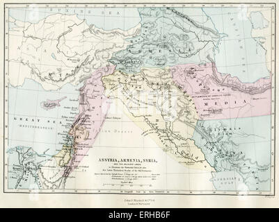 Map of Assyria, Armenia, Syria and the adjacent lands. 19th century map representing the Patriarchal period and - Stock Photo