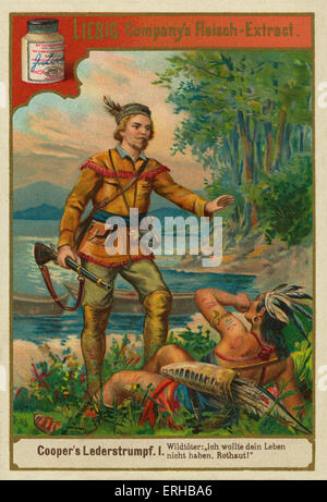 The Leatherstocking Tales by James Fennimore Cooper (1841). Caption reads: Deerslayer-'I do not want your life, - Stock Photo