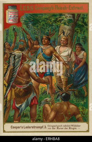 The Leatherstocking Tales by James Fennimore Cooper (1841). Caption reads: Chingachgook and  Deerslayer protect - Stock Photo