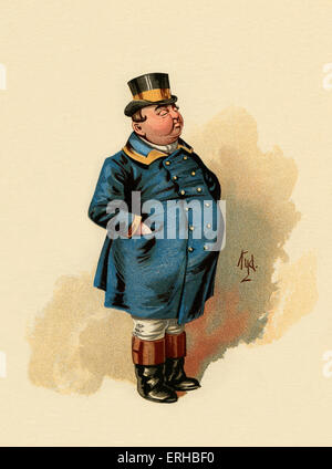 The Pickwick Papers by Charles Dickens (1836). Illustration of The Fat Boy. Caption reads: ' '[The Fat Boy] he's - Stock Photo