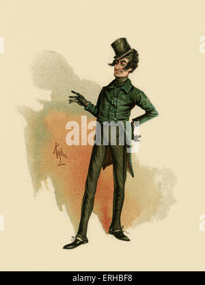 The Pickwick Papers by Charles Dickens (1836). Illustration of Mr.Jingle. Caption reads:  'Jingle,' said that versatile - Stock Photo