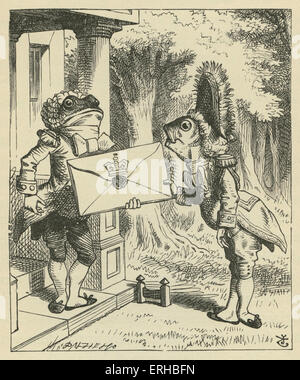 The Fish-Footman, Lewis Carroll's (1832-1898) book 'Alice's Adventures in Wonderland'. Illustrated by John Tenniel. - Stock Photo