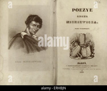 MICKIEWICZ, Adam Bernard  (Polish poet, 1798-1855  Friend of Frederic Chopin ) portrait drawn by Louis Croutelle - Stock Photo