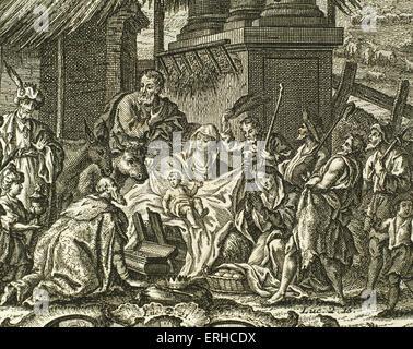 New Testament. Nativity of Jesus. Adoration of the Magi. Engraving. - Stock Photo