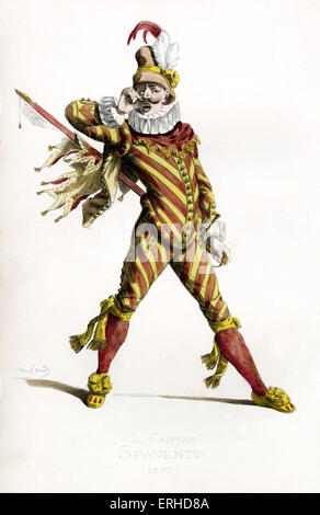 Il Capitano Spavento costume, 1577 - drawn by Maurice Sand, published in 1860. Commedia dell' Arte character. Italian version of the Spanish Capitan Matamoros and French Capitaine Fracasse. He wears a hat, ruffled collar.