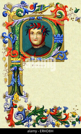 Francesco Petrarch portrait in a decorative letter 'P'.  14thC Italian Poet.  His poems have been set to music by - Stock Photo