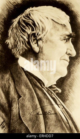 Thomas Alva Edison - engraving from 1929 - American inventor, engineer and manufacturer - 11 February 1847 - 18 - Stock Photo