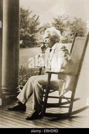 Mark Twain - portrait.  American writer, satirist and novelist. 1835 - 1910 - Stock Photo