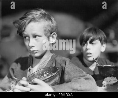 Oliver Twist film still from 1948 Rank Film production of Charles Dickens British novelist, 7 February 1812 - 9 - Stock Photo