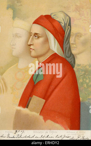Alghieri Dante drawing by Alfresco di Giotto. Italian poet 1265 -  September 1321 Firenze/ Florence - Stock Photo
