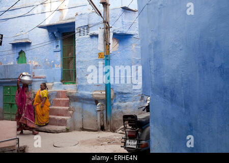 woman in the blue painted old part of Jodhpur, Rajasthan, India, Asia