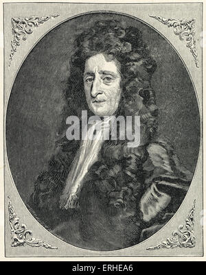 John Locke - portrait engraving after the portrait by Burrower. English philosopher 1632 - 1704 - Stock Photo