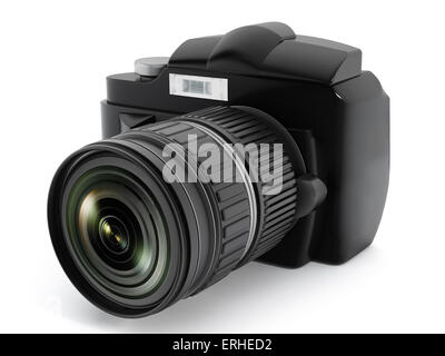 Digital SLR camera isolated on white. - Stock Photo