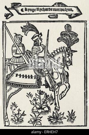 Richard the Lion Heart portrait - Richard I - King of England 1157-1199 - Wynkyn de Worde, 1528 - Stock Photo