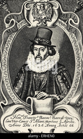 Francis Bacon - portrait from his 'Posthumous Works' 1657.  English philosopher and politician 22 January 1561- - Stock Photo