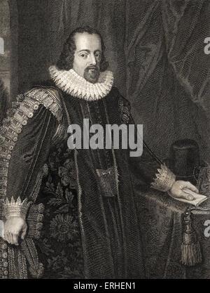 Francis Bacon - portrait.  English philosopher and politician 22 January 1561- 9 April 1626. - Stock Photo