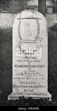 John Keats grave / tombstone in Protestant cemetery in Rome. English poet, 1795-1821. - Stock Photo