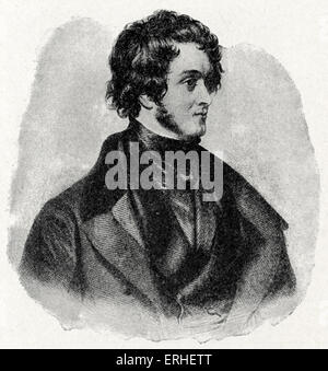 William Harrison Ainsworth - English historical novelist 1805-1882.  From a drawing by C. Maclise. - Stock Photo