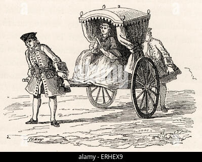 Daily life in French history: a lady dressed fashionably getting in her 'chaise roulante, drawn by her servants. - Stock Photo