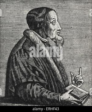 French reformer Jean Calvin, supporter of Lutherian ideas. Forced to leave Paris and settle in Geneva, 1541, projecting - Stock Photo