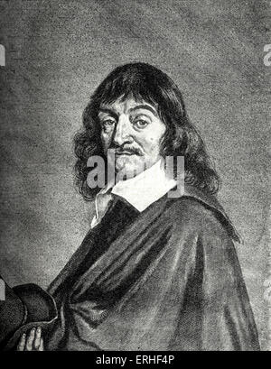 Rene Descartes - portrait by Hals.  French philosopher and scientist. 1596-1650 - Stock Photo