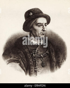 Louis XI - portrait.  King of France, son of Charles VII.  Associated with unification of the French territory. - Stock Photo
