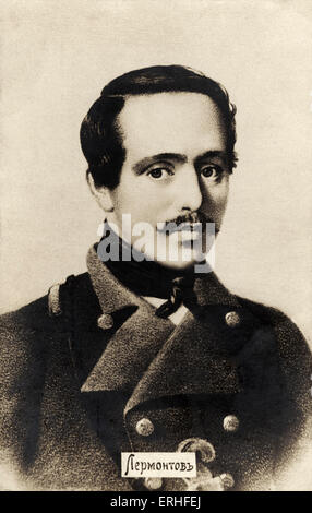 Mikhail Lermontov - portrait - Russian poet and novelist 15 October 1814 - 27 July 1841 - Stock Photo