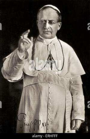 Pope Pius XI - portrait. Pope from 6 February 1922 to 10 February 1939 3.  May 1857 - 10 February 1939. - Stock Photo