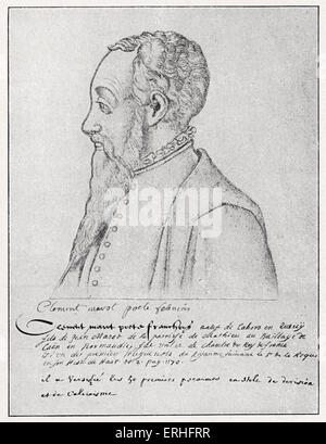 Clément Marot - portrait from an original painting,  c.1560.  French poet, writer, translator, psalms. 1496 / 1497 - Stock Photo